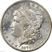 PCGS MS64+ 1879-CC Morgan Silver Dollar.