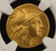 古希腊马其顿亚历山大大帝金标币-NGC评级MS级早期逝后版凝绿轩