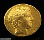 古希腊马其顿太阳神阿波罗头像金币