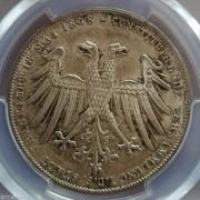 【德藏】德国1848年法兰克福双头鹰2盾银币 PCGS MS65