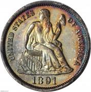 PCGS-PR66+1891 Liberty Seated Dime