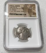NGC AU 古希腊雅典阿提卡城猫头鹰4德拉克马银币 4/5 4/5 打制精美