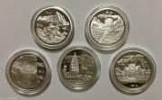 1993年拥有一片故土银币1盎司全套5枚-(泰山/华山/衡山/恒山/嵩山)