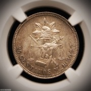 1886-Mo墨西哥25分银币,NGC MS-64+