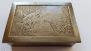 19世纪 法国 纯手工雕刻 银粉盒 布歇的名画《春天》