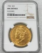 NGC UNC 美国自由女神鹰洋1904年20元大金币 33.43克900金好品相