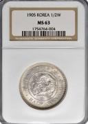 朝鲜光武九年半圆银币 转光MS63高分
