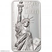 库克2017年自由女神像长方形加厚银币