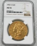 NGC AU55美国自由女神鹰洋1902-S年20元大金币 33.43克900金好品相