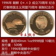 1996年 朝鲜-打倒帝国主义同盟成立70周年纪念币