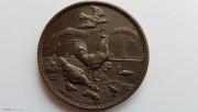 1900年 英国农牧 公鸡 古董铜章
