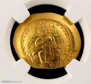 原光未流通的拜占庭君士坦丁十世耶稣坐像碟形金币