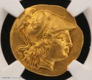 古希腊马其顿亚历山大大帝金标币-NGC评级chAU级 雅典难女神