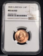 NGC MS66RD 1828 G.Britain 1/4 penny