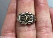 苏工福寿双全老银戒指