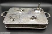 完整 清代 铜镀银鸦片盒 一套
