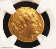 古希腊马其顿腓力二世太阳神和马车图金标币-NGC评级XF双5分