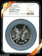 1988年NGC69级5盎司第二十四届夏季奥林匹克运动会纪念排球银币