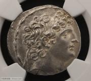 古希腊塞琉古帝国安条克八世银币NGC评级AU古钱币打制币