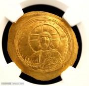 拜占庭帝国耶稣基督与皇帝像碟形金币NGC评级MS级