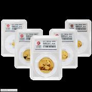 2017年熊猫金币初铸币.评级70分.57克足金金套币