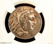 NGC评级加厚古希腊亚历山大大力神四德银币