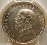 【全能菜鸟】德国1913年巴伐利亚路德维希2马克铜镀银样币PR63