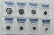 PCGS PR64-65 英国乔五国王首年 1911年 8枚精铸银币 带原盒  1.2.3.4.便士 6便士 1.2.先令,1/2克朗