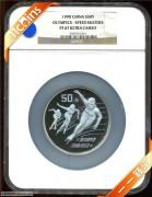 1990年NGC67级5盎司第16届冬季奥运动会纪念银币普通棕标