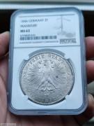 【德藏】1846年德国法兰克福鹰徽2泰勒银币 NGC MS63