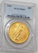 PCGS MS63好品相美国行走女神圣高登斯鹰洋1924年20元金币33.43克