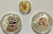 中国京剧脸谱金银币(3)组-彩色金币1/4盎司孙悟空,彩色银币1盎司张飞,彩色银币1盎司陶洪