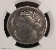 古希腊西西里岛叙拉古城仙女和驷马车仙女海豚大银币古典币凝绿轩