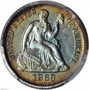PCGS PR64+1869 Liberty Seated Half Dime