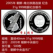 2005年 朝鲜-南北铁路连接纪念 31g999纯银纪念币 银币