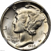 NGC MS67 1936 Mercury Dime