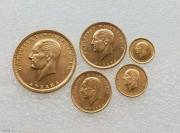 UNC-BU 土耳其 国父 凯末尔 1923年 5枚金币全套 66.7克 917金 全套少见,