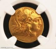古希腊马其顿雅典娜和胜利女神像金币NGC评级XF