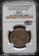【德藏专卖】英国1902年爱德华七世登基纪念银章 NGC MS64 WINGS