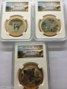 纳米比亚1995年环球小姐精制彩色纪念镀金银样币3枚套PF69和70分