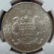 【德藏】德国1913年汉堡自由市5马克银币 MS64