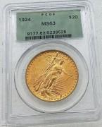 PCGS -MS63 美国自由女神鹰1924年20元大金币33.43克900 好品相 人像处有一黑点是包浆