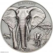 坦桑尼亚2016年大象仿古高浮雕银币