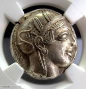 古希腊雅典娜女神和猫头鹰银币-NGC评级Chau双5分
