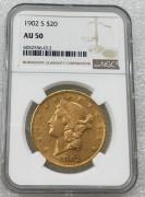 NGC AU50 美国自由女神鹰洋1902-S 年20元大金币 33.43克900金好品相