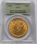 PCGS MS62  美国自由女神鹰1904年20元大金币33.43克900金