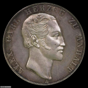 【德藏】德国1855年安哈特2泰勒银币 PCGS MS63