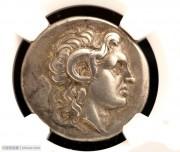 古希腊亚历山大大帝公羊角头像银币-雕模精美NGC评级
