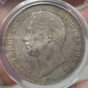【德藏】德国1855年符腾堡流通2泰勒银币 PCGS MS64+