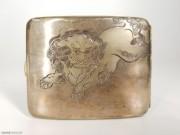 1900 日本达摩狮子戏蝶图 纯银 礼盒 馆藏级